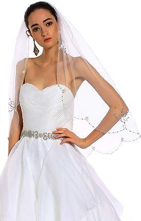 Ivory Bridal veil   Short bridal veil with pearls Ivory wedding veil Pear tulle wedding veil Minimal wedding veil