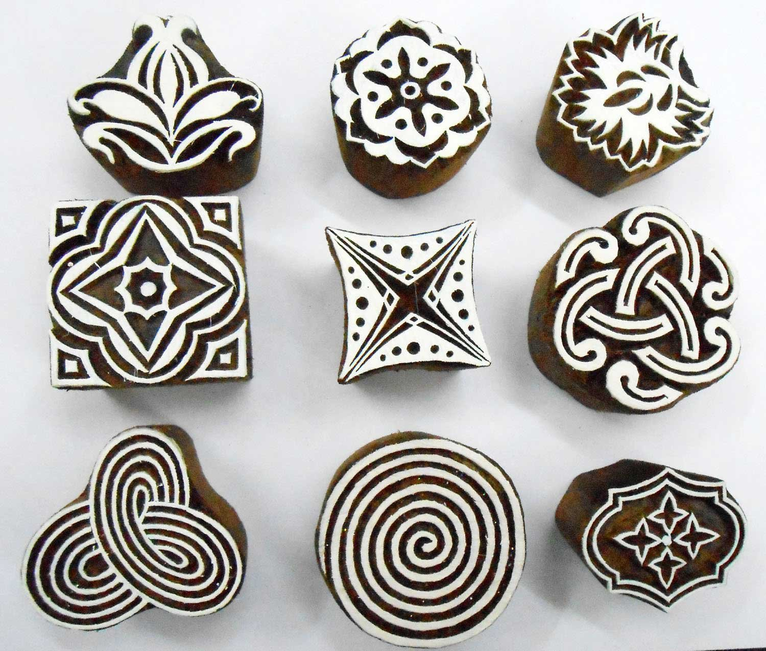 Wholesale Lot of 9 Wooden Block Stamps for Textile Printing/ Scrapbooking/ Henna Tattoo