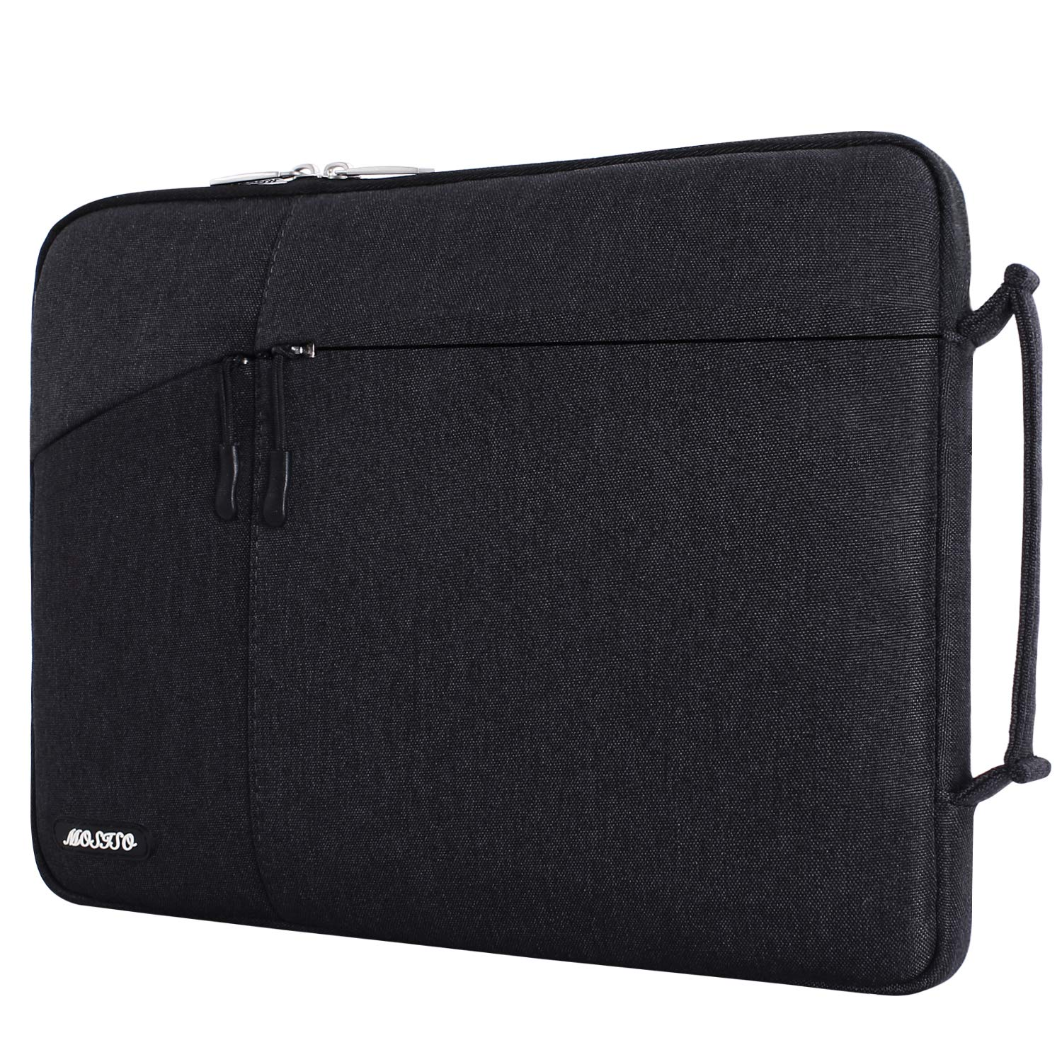 MOSISO Laptop Briefcase Handbag Compatible 13-13.3 Inch MacBook Air, MacBook Pro, Notebook Computer Polyester Protective Sleeve Case Carrying Bag with Accessory Pockets, Black