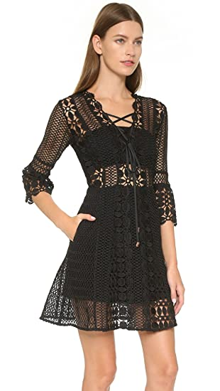 28f23e8ba4c5 Self-Portrait A Line Lace Up Dress Black, Size UK 10: Amazon.co.uk: Clothing