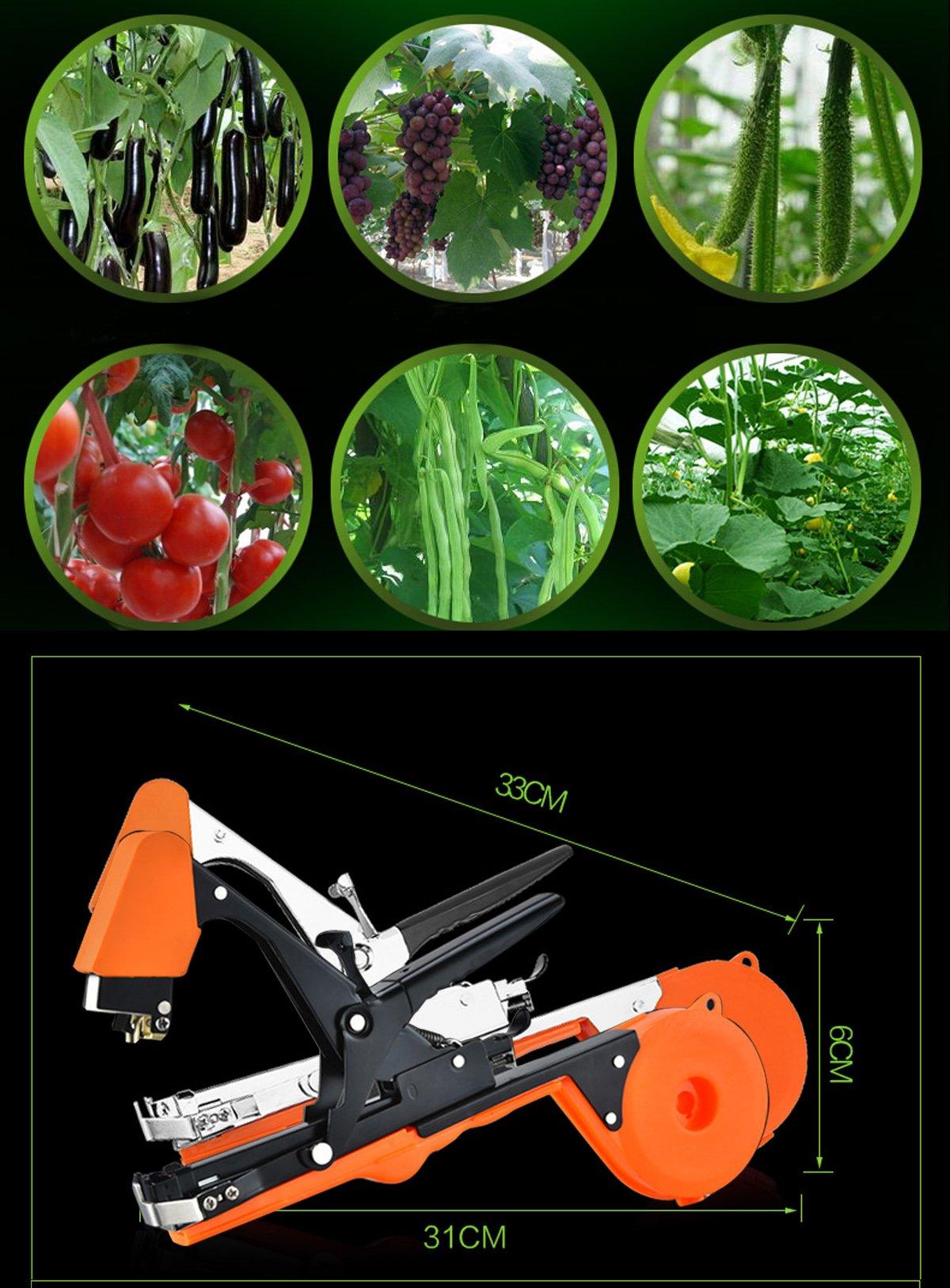 JOYOOO 2018 Newest vineyard tool Garden Vine Tying Tape Plant Tying Machine Agriculture Tapener Hand Tying Machine fix the vine plant such as tomato, cucumber, ect 10 rolls tape+1 staples +Tying Tool by JOYOOO (Image #1)