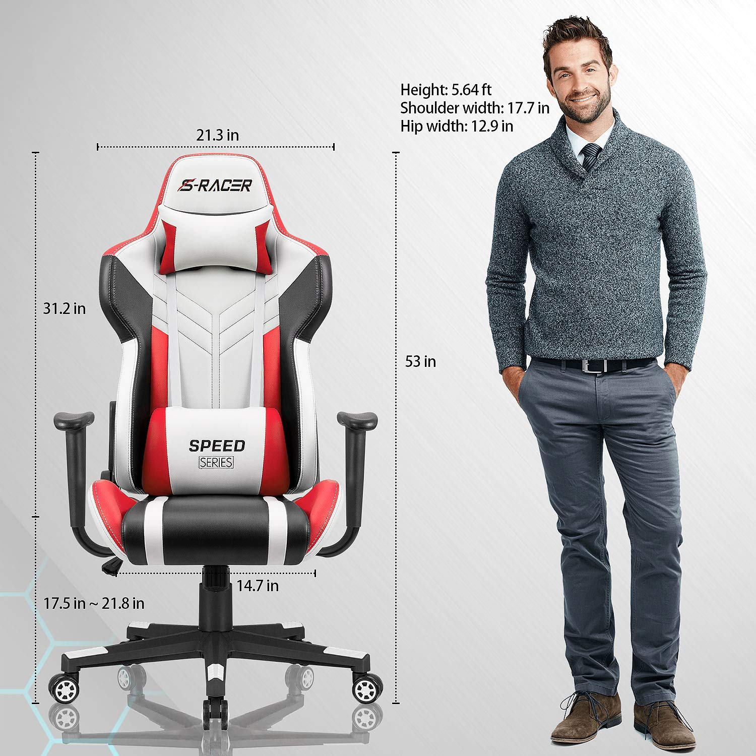 Homall Gaming Chair Racing Style High-Back PU Leather Office Chair Computer Desk Chair Executive and Ergonomic Swivel Chair with Headrest and Lumbar Support (White/Red) by Homall (Image #6)