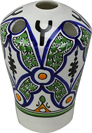 Fes/Agadir 5 agujeros multicolor de cerámica pintado a mano – Soporte para cepillo de
