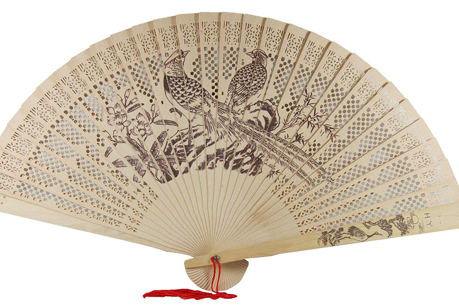 9' CHINESE HAND HELD WOODEN FAN FANS