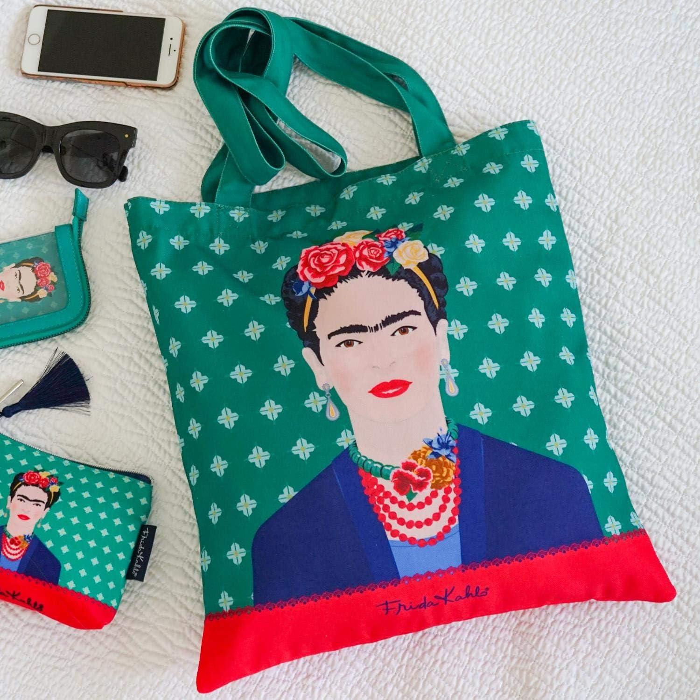 Groovy UK Bolso de Tela (Tote Bag) Frida Kahlo Green Vogue: Amazon ...