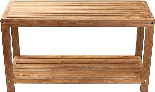 Nordic Style Natural Teak Spa Shower Outdoor/Indoor Bench