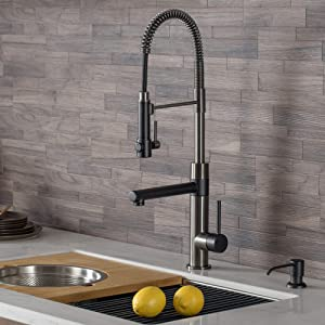 Kraus KPF-1603MBSB Artec Pro 2-Function Commercial Style Pre-Rinse Kitchen Faucet with Pull-Down Spring Spout and Pot Filler, Matte Black/Black Stainless Steel