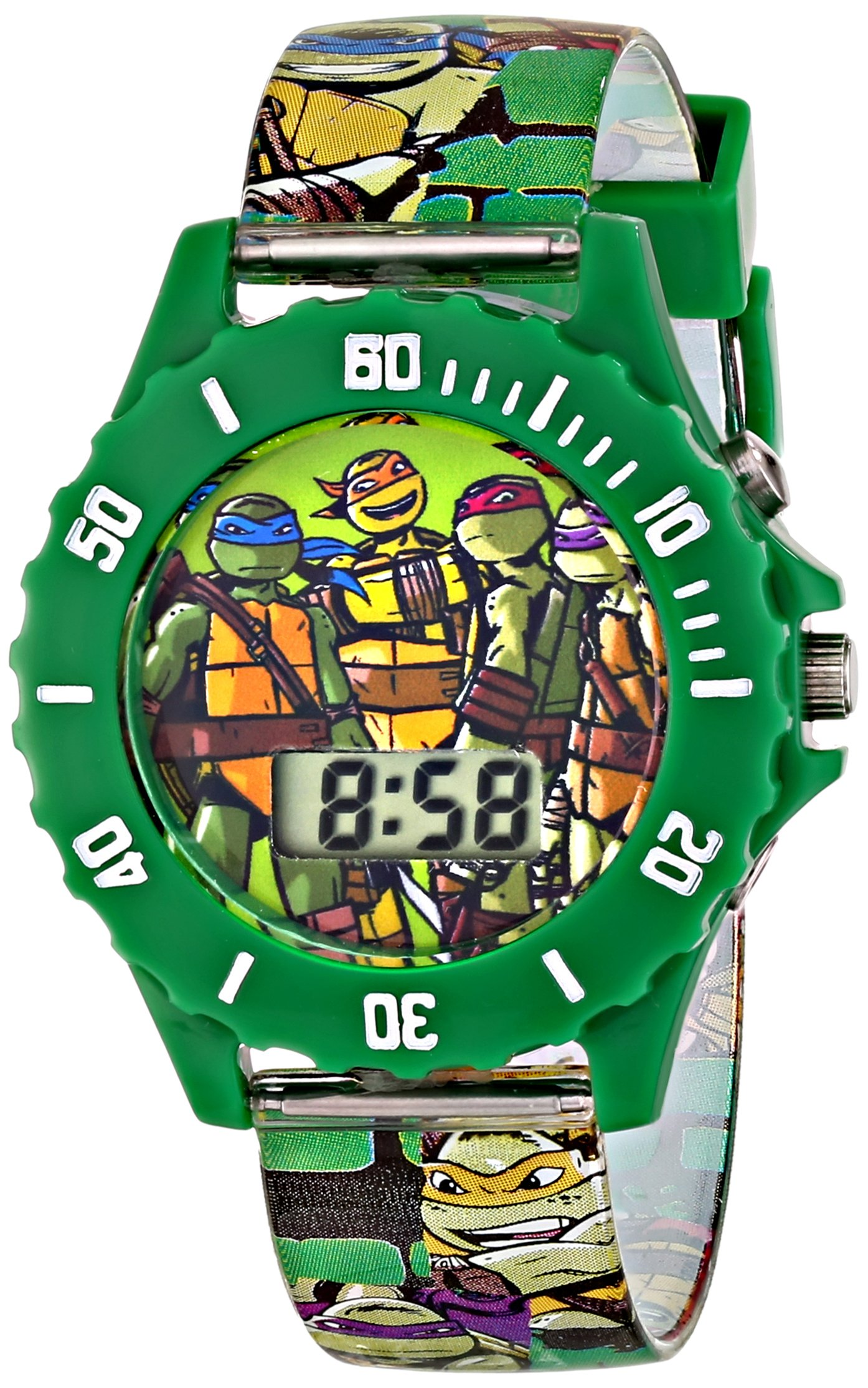 Ninja Turtles Kids' Digital Watch with Green Bezel, Speaker Plays TMNT Theme Song, Green Strap - Kids Digital Watch with Teenage Mutant Ninja Turtles on the Dial, Safe for Children - Model: TMN4085