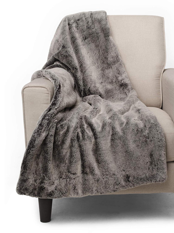 Tahari Home Mink Faux Fur Throw, Luxury Plush Blanket in Black Silver Tipped (Black)