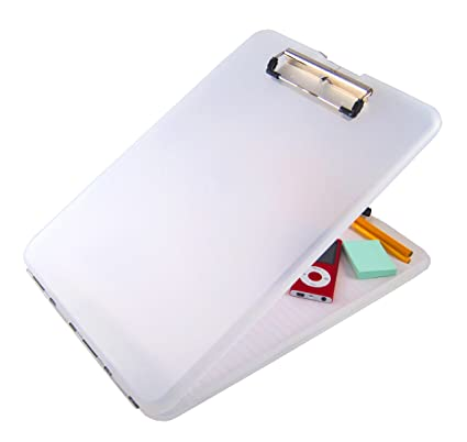 Saunders Clear SlimMate Plastic Storage Clipboard U2013 Polypropylene  Recordkeeping Tool With Storage Compartment. Office Supplies