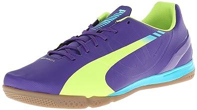 super popular 182b0 905bb PUMA Men s Evospeed 4.3 Indoor Soccer Shoe,Prism Violet Fluro Yellow Scuba  Blue