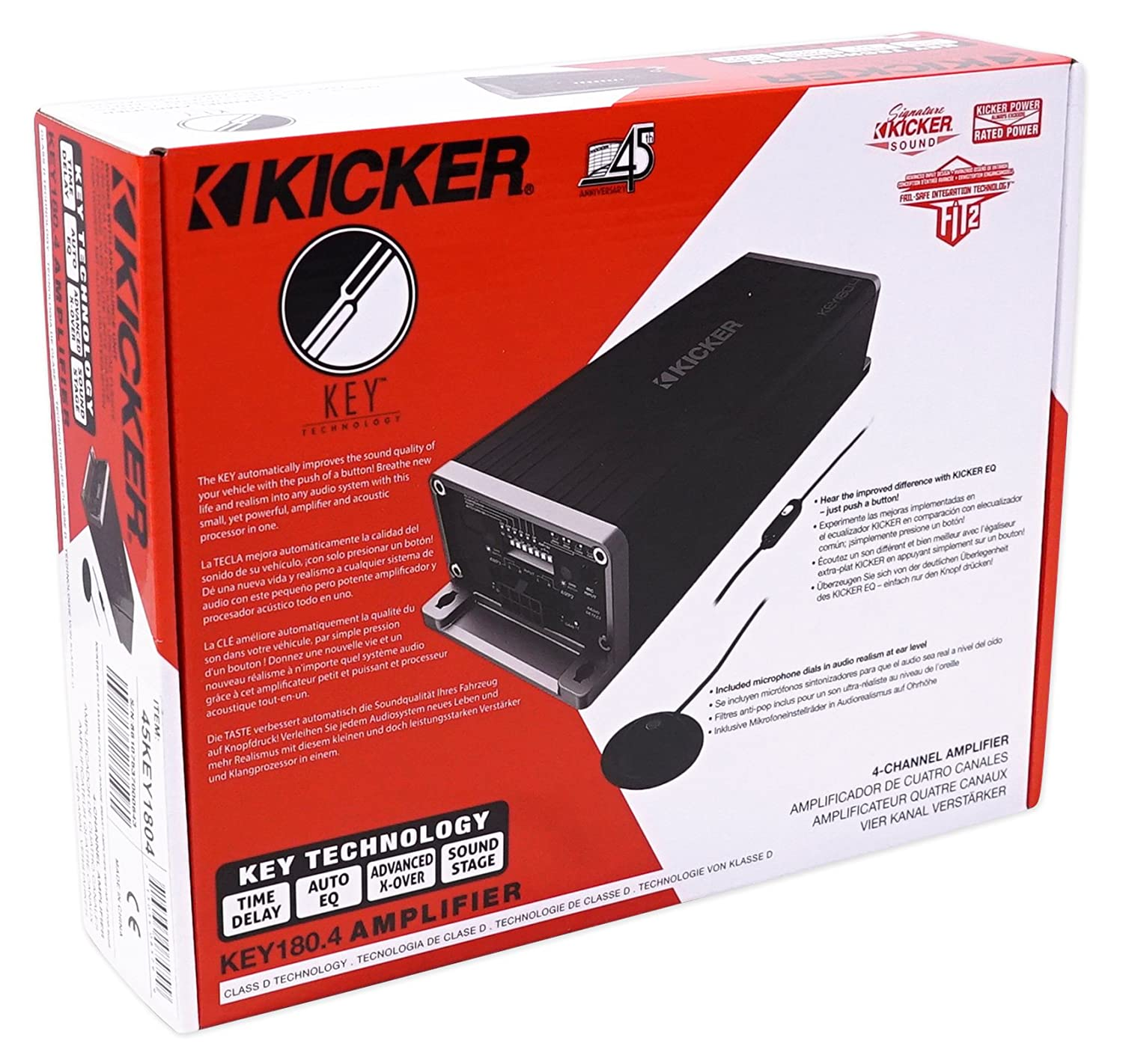Amazon.com: KICKER 45KEY1804 180w 4-Channel Smart Amplifier KEY180.4 + Bluetooth Headphones: Car Electronics
