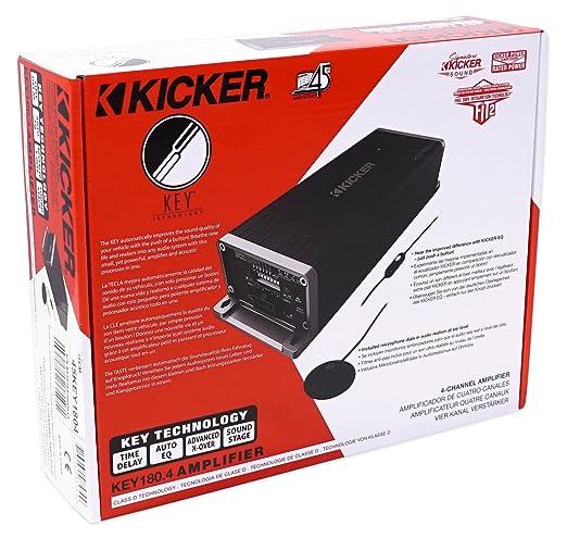 Amazon.com: KICKER 45KEY1804 180w 4-Channel Smart Amplifier KEY180.4 + Bluetooth Headphones: Car Electronics