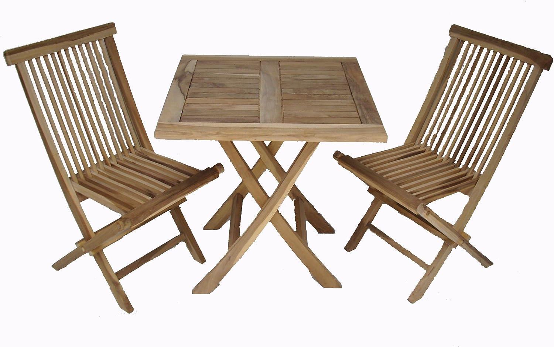Ambientehome 63542 - Juego de Mesa y 2 sillas Plegables de terraza ...
