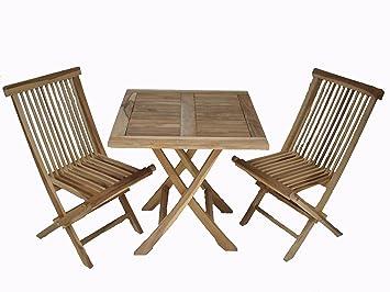 Ambientehome 63542 - Juego de mesa y 2 sillas plegables de ...