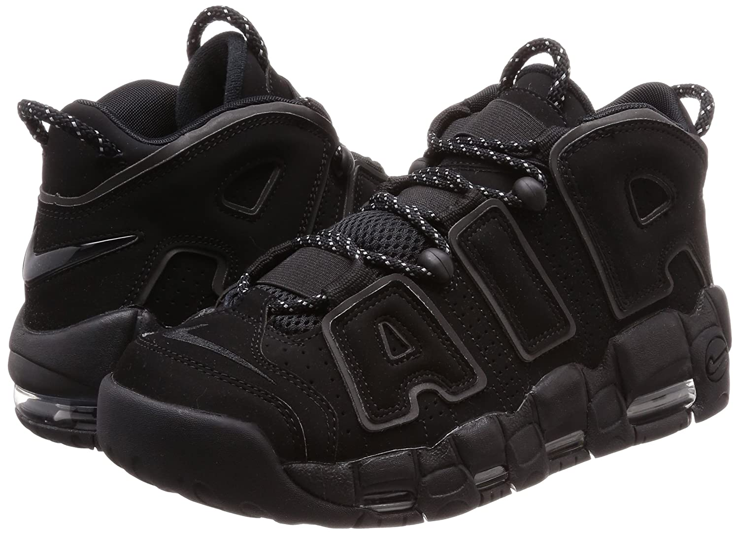 detailed look a61b3 7956a AIR More Uptempo  Black Reflective  - 414962-004 - Size 10 -  Amazon.co.uk   Shoes   Bags