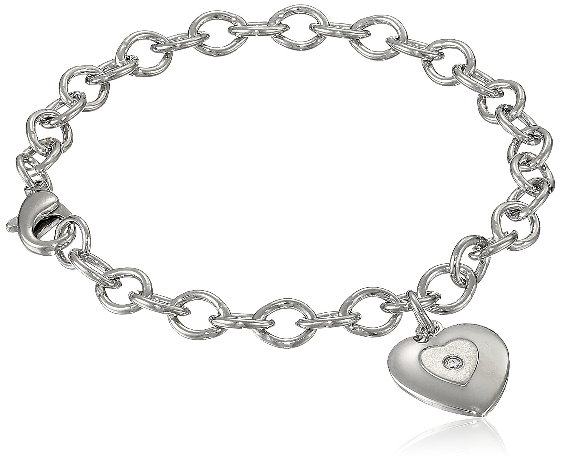 Sterling Silver Pre-Teen Diamond Stamped Heart Charm Bracelet, 6.75''