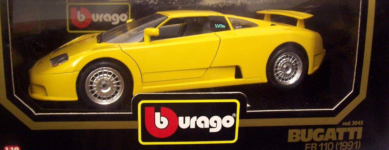 Burago 1/18 Scale Diecast 3045 Bugatti EB 110 1991 Yellow Model Car B0033T1UHM