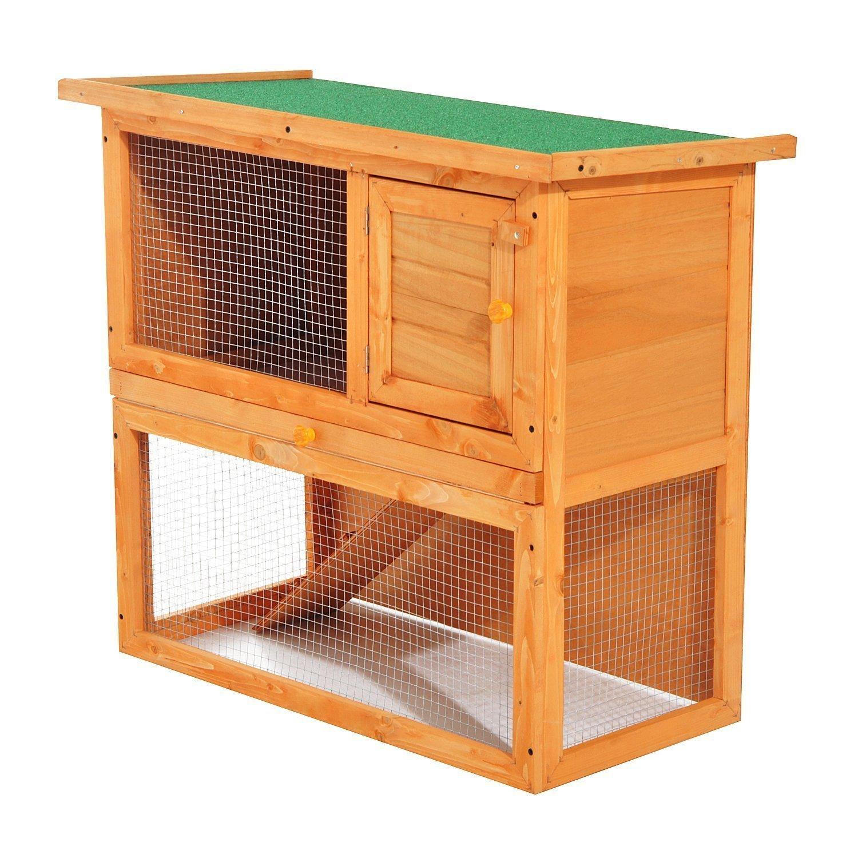 PawHut Conejera Madera Jaula para Conejos o Casa para Animales Pequeños 90x45x80cm Área de Juego SPANISH AOSOM