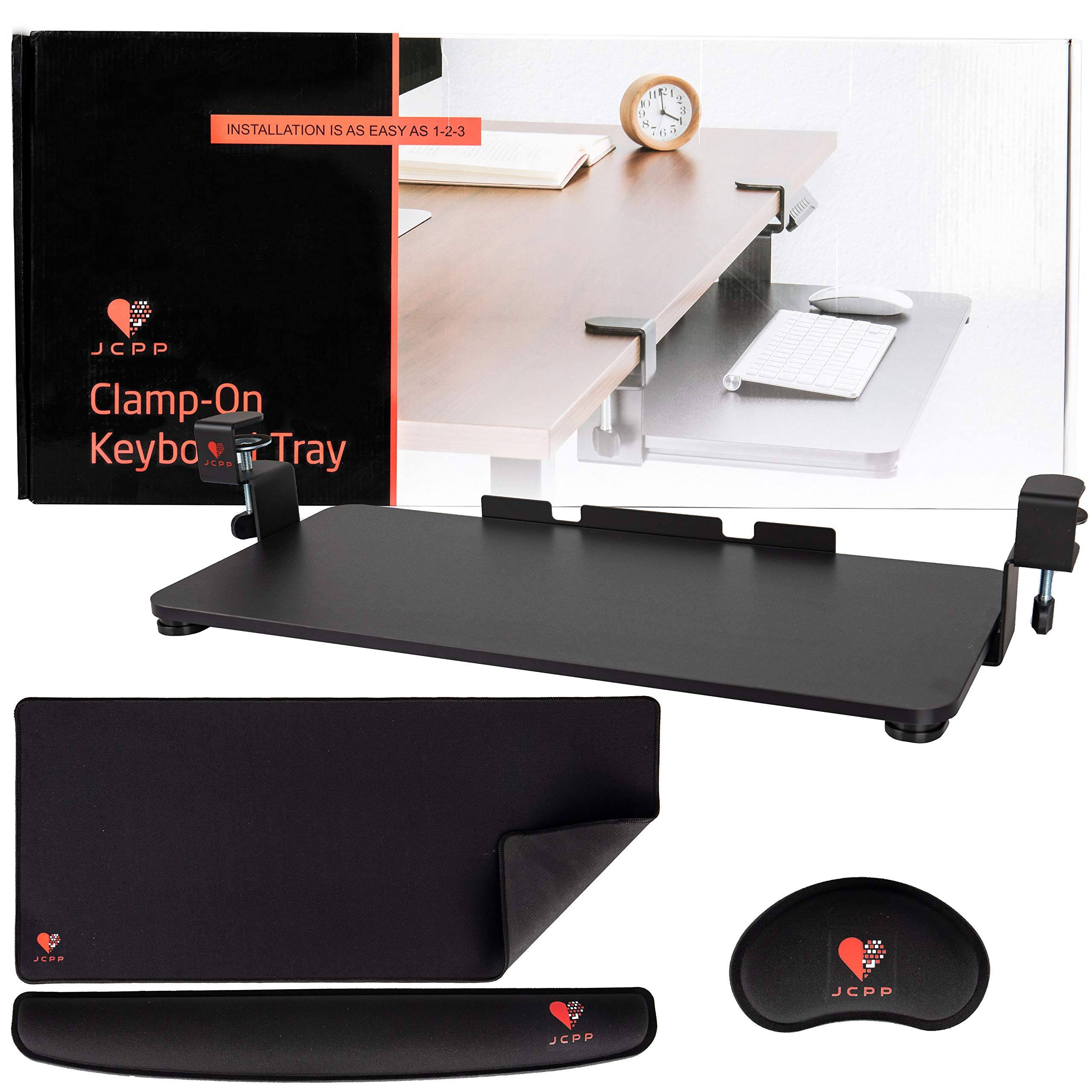 JCPP Easy(Extra Large)Clamp on Keyboard Tray/slider mount Drawer-No screws Needed!-Computer under shelf Table Desktop Extender for Homes and Offices-Includes Mouse pad,Keyboard wrist Pad, Mouse Rest by JCPP