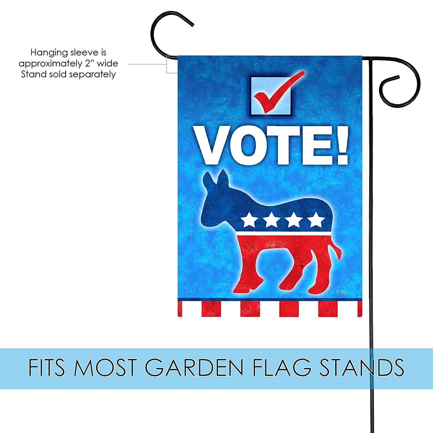 """12x18 12/""""x18/"""" Democratic Party Political Donkey Sleeved w// Garden Stand Flag"""