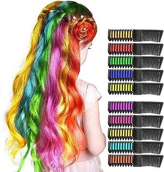 Dreamingbox Hair Chalk, Peine De Tiza para El Cabello Temporal Colorido - Girls Party y Cosplay