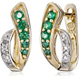 14k Yellow Gold Created Gemstone and Diamond Accent Hoop Earrings