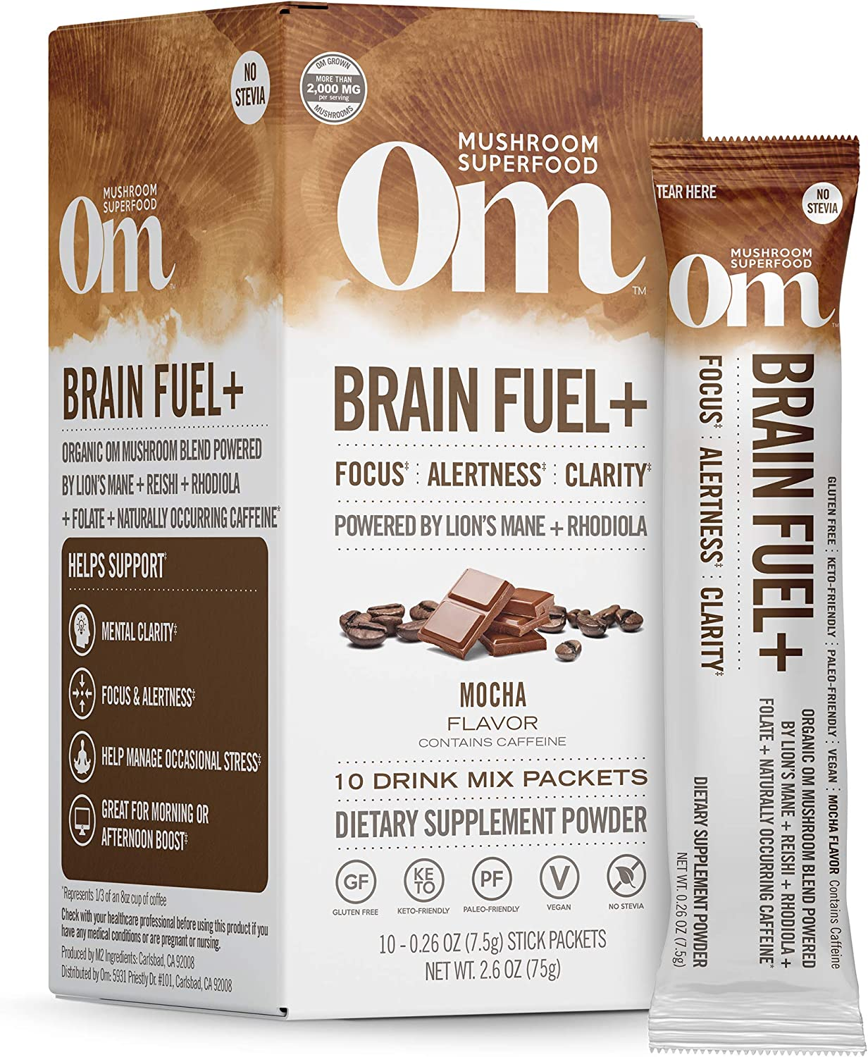 Om Mushroom Superfood Drink Mix Packets, Brain Fuel Plus, Mocha, 2.1 Ounce, Lions Mane & Rhodiola, Memory & Focus Supplement