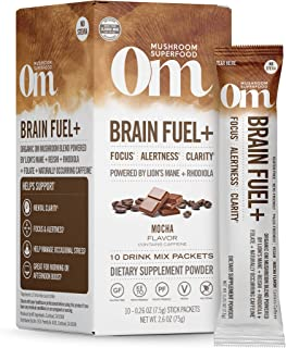 product image for Om Mushroom Superfood Drink Mix Packets, Brain Fuel Plus, Mocha, 2.1 Ounce, Lions Mane & Rhodiola, Memory & Focus Supplement