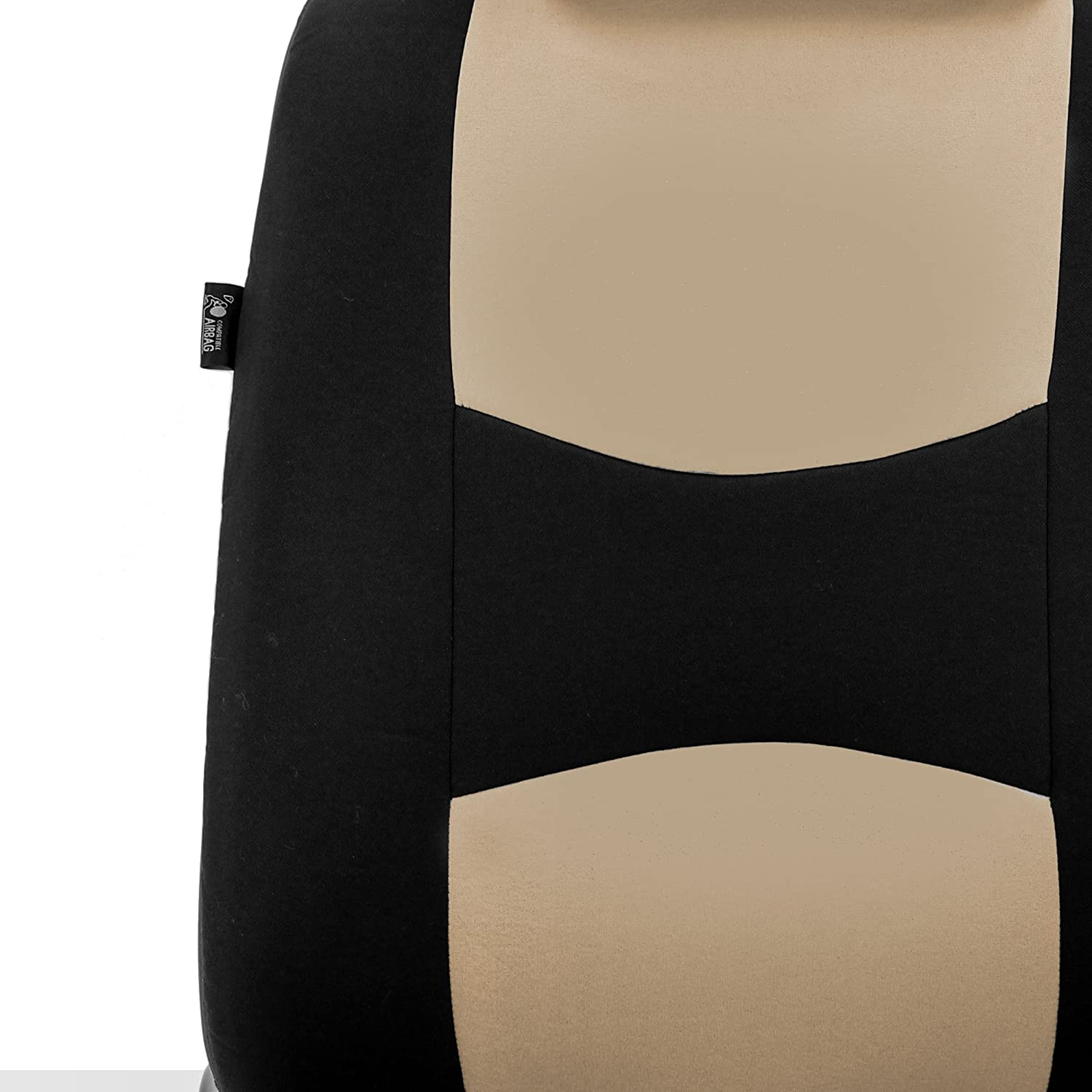 SUV Truck or Van FH Group FB351102 Pair Set All Purpose Flat Cloth Built-in Seat Belt Bucket Seat Covers Beige//Black- Fit Most Car