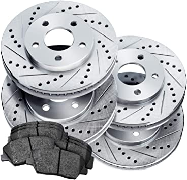 REAR PowerSport Drilled Slotted Brake Rotors Ceramic Pads BLCR.34144.02