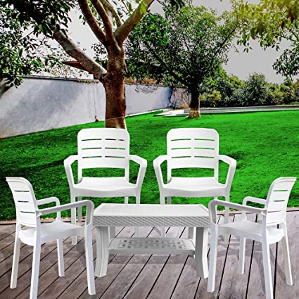 ITALICA Furniture - Armchair and Table Combo - Indoor and Outdoor (White) Set of 4 Chairs