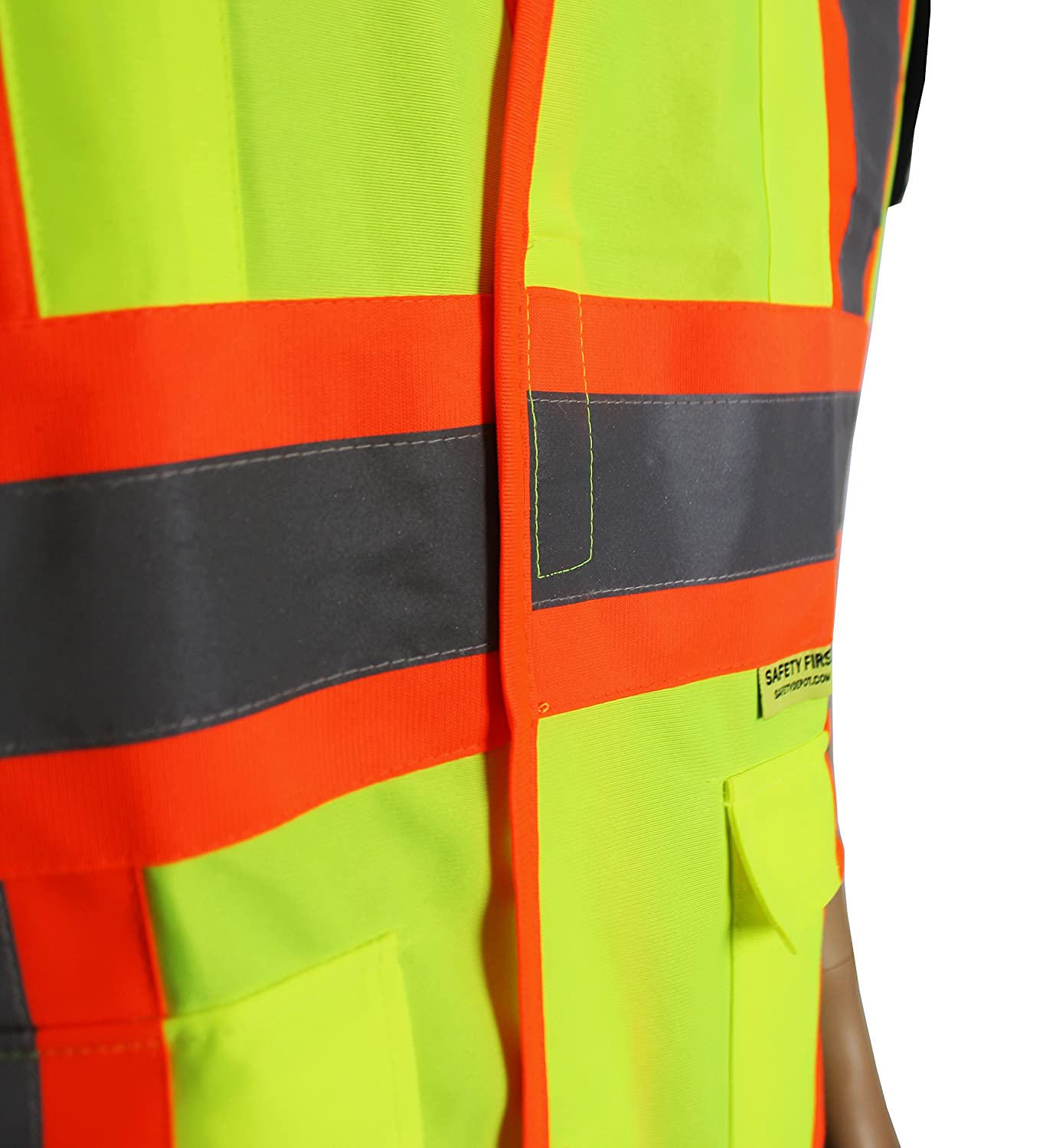 Safety Depot Class 2 Safety Vest Reflective Two Tone Hook /& Loop Closure with Pockets Hi Viz ANSI//ISEA 107-2010 V5048 4XL, Solid Fluorescent Yellow