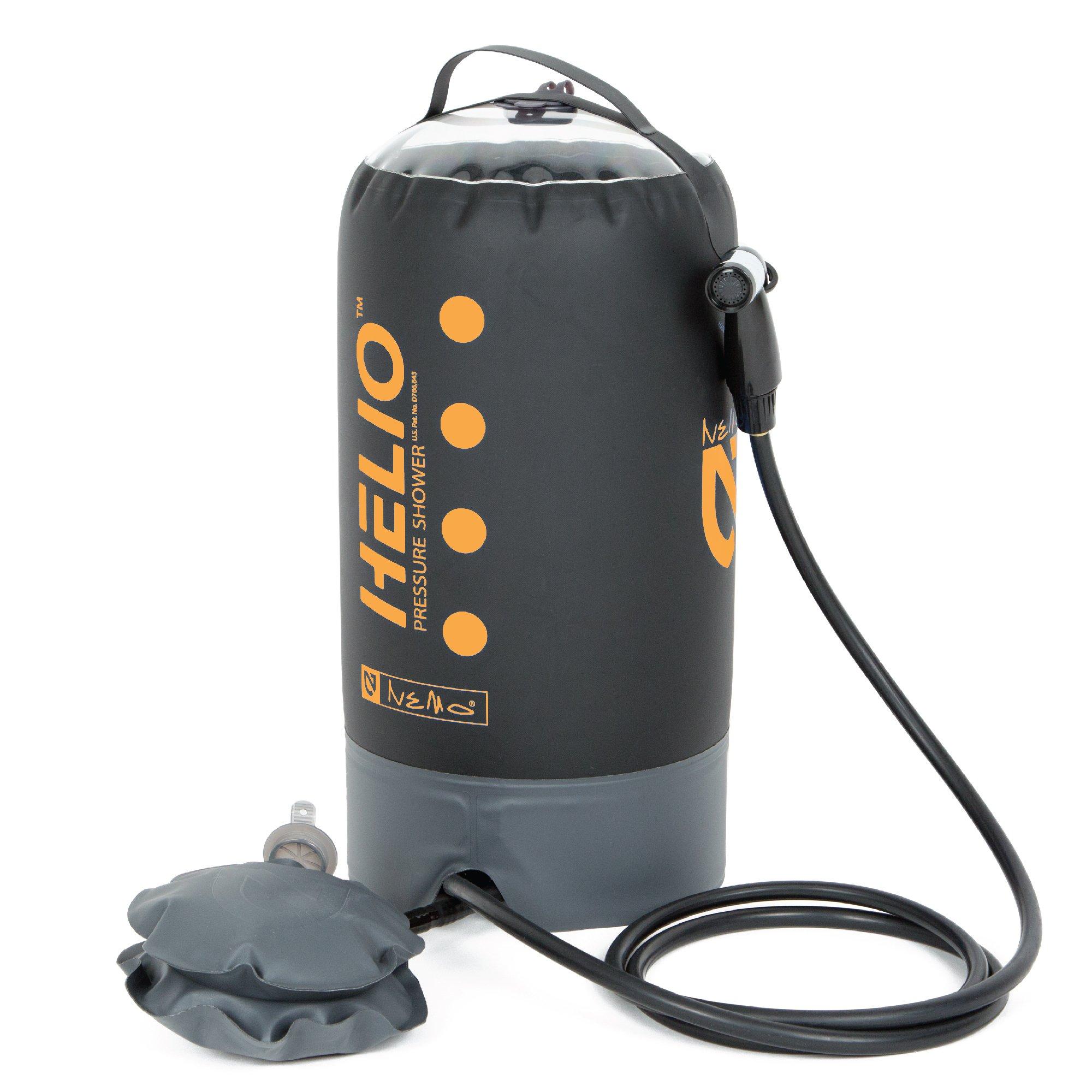 Nemo Helio Portable Pressure Shower with Foot Pump, Black/Sunset