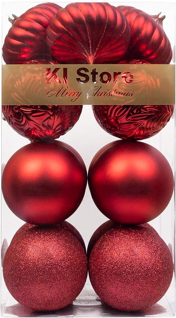 BusyBee Rojo Bolas de Navidad de 10cm 16 Piezas para la decoración del árbol de Navidad Adornos de árbol de Navidad: Amazon.es: Hogar