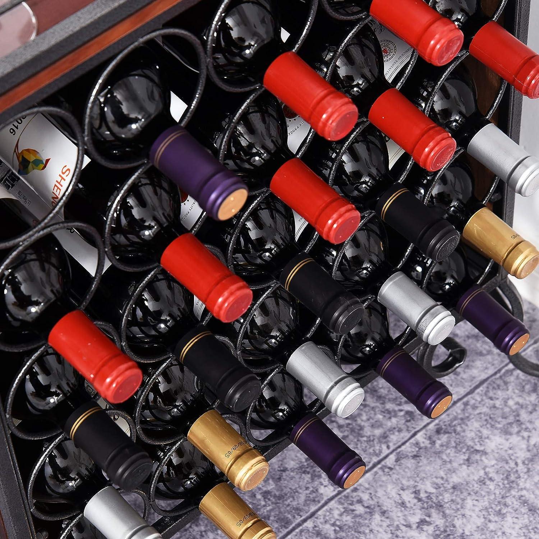 Black HOMCOM 25 Bottle Horizontal Free Standing Wine Rack Stand Wood and Metal