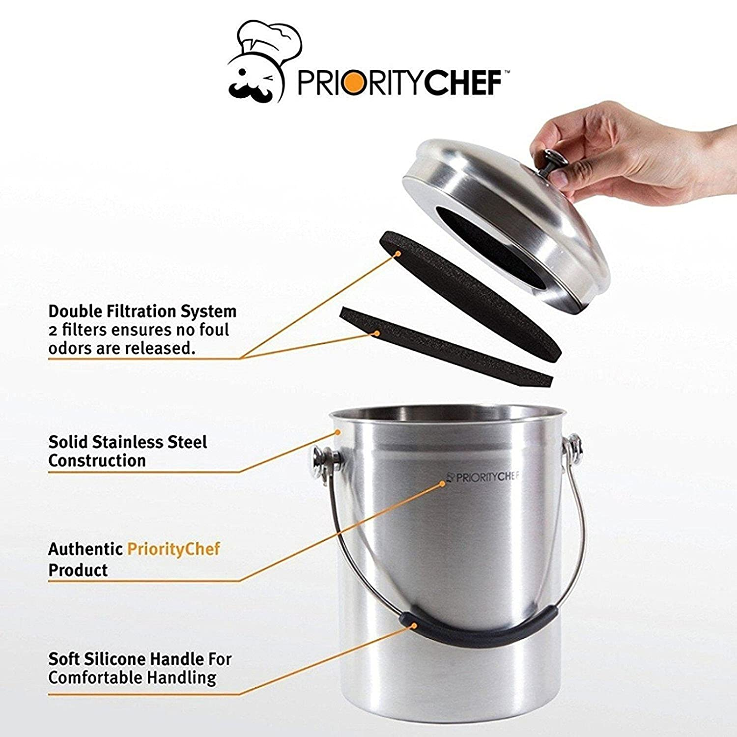 amazon com prioritychef compost bin stainless steel with soft