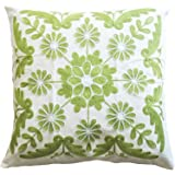 "Marguerite Embroidery Decorative Throw Pillow COVER 18"" Green White"