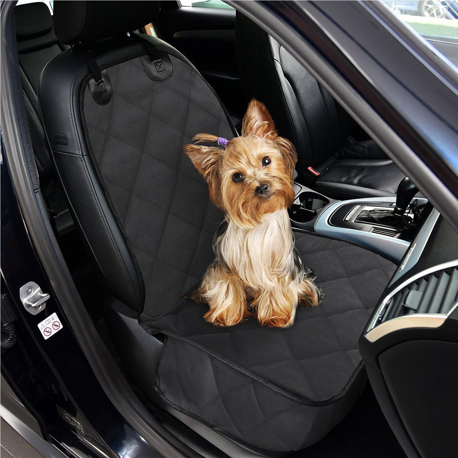 CPG DOTS Non-Slip Front Seat Cover Protector for Pets,Dog Seat Cover, Waterproof Scratch Proof Backing, Hammock Convertible, Quilted, Padded,for Cargo Liner,Trunks and SUVs,Black (Single Seat)