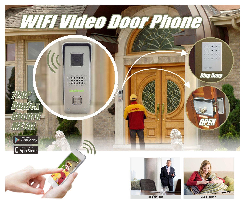 EasySmart H.264 1280 x 720P HD Metal al aire libre Mini Wifi Video puerta teléfono con Full Duplex, visión nocturna, grabación, detección de movimiento, ...