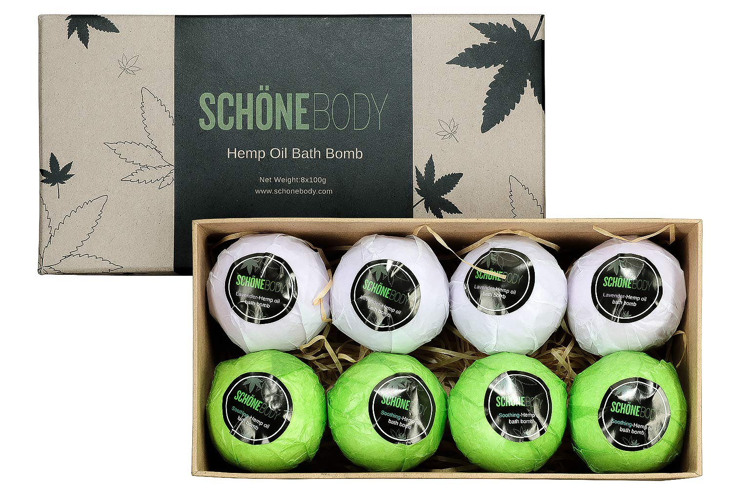 Hemp Bath Bombs, Large Set of 8 Bath Bombs. By Schone Body, 2 relaxing Scents of Refreshing Mint and Hemp Oil and Soothing Lavender and Hemp Oil. Made with Pure Essential Oil Vegan Set
