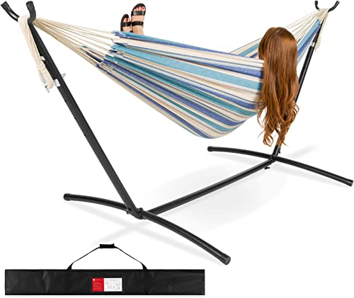 Best Choice Products 2-Person Indoor Outdoor Brazilian-Style Cotton Double Hammock Bed w/Carrying Bag