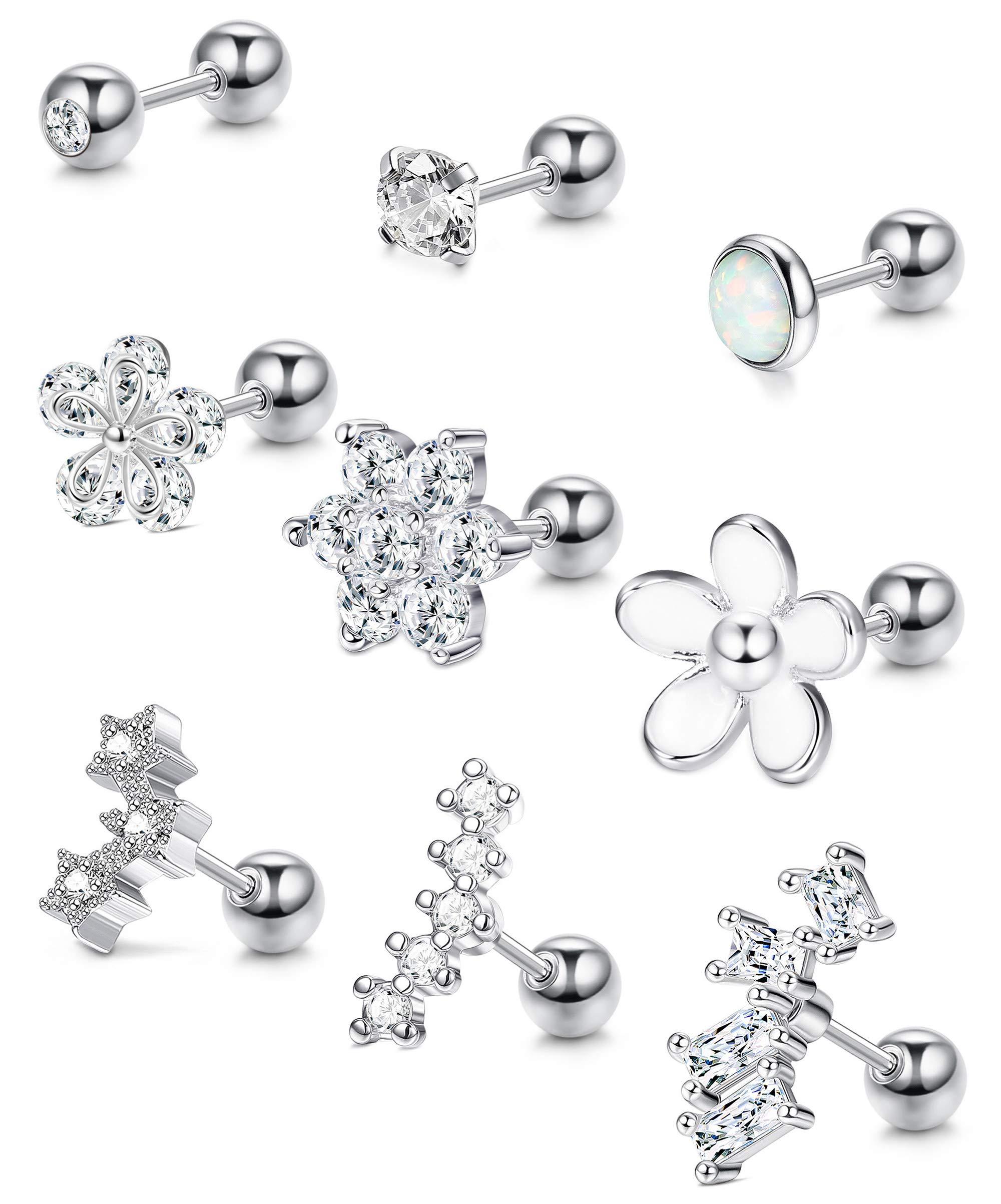 ORAZIO Cartilage Earrings for Women 16G Helix Tragus Conch Piercings Jewelry Stud by ORAZIO