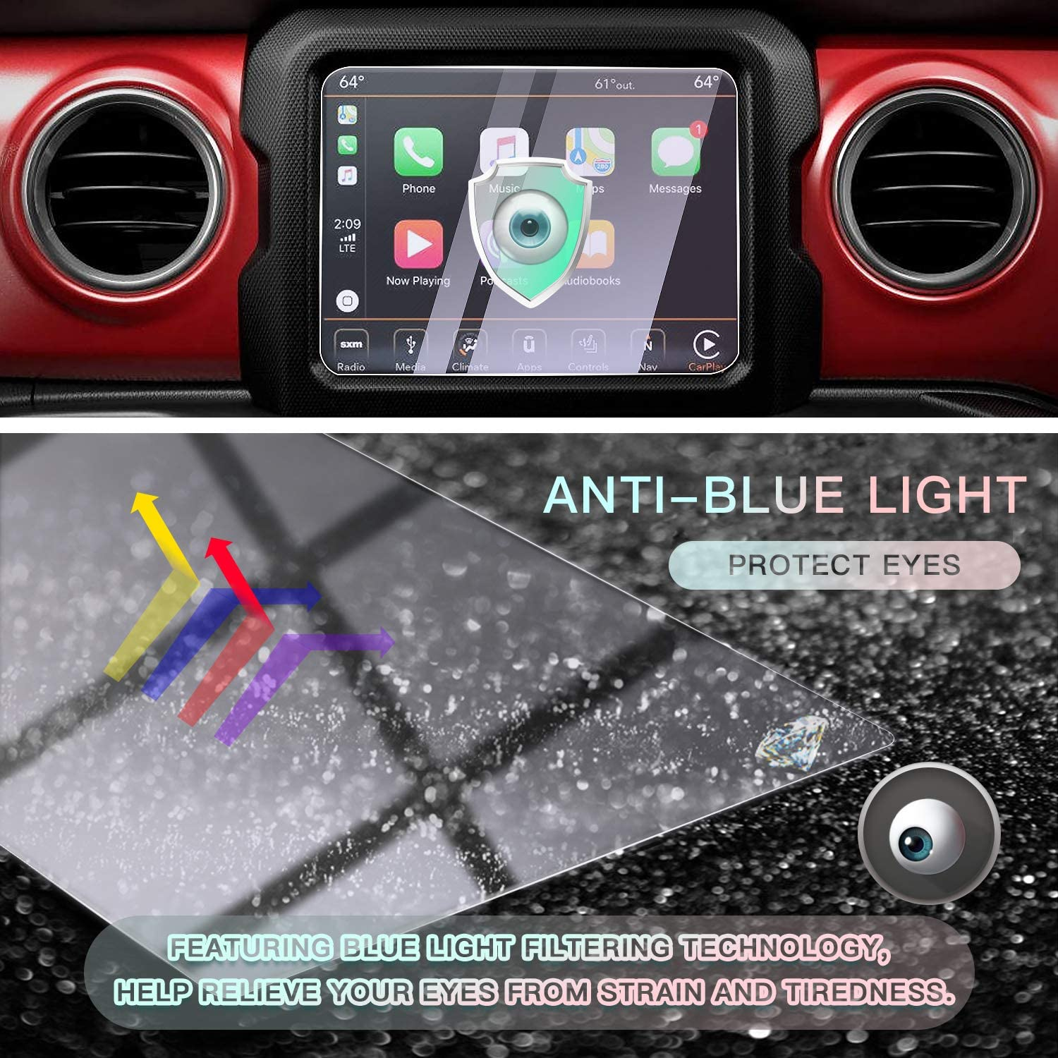 HD Clear Tempered Glass 9H Scratch Resistance 8.4IN CDEFG for 2018 2019 2020 Wrangler JL// 2020 Gladiator JT Center Control Touchscreen Navigation Touch Screen Protector