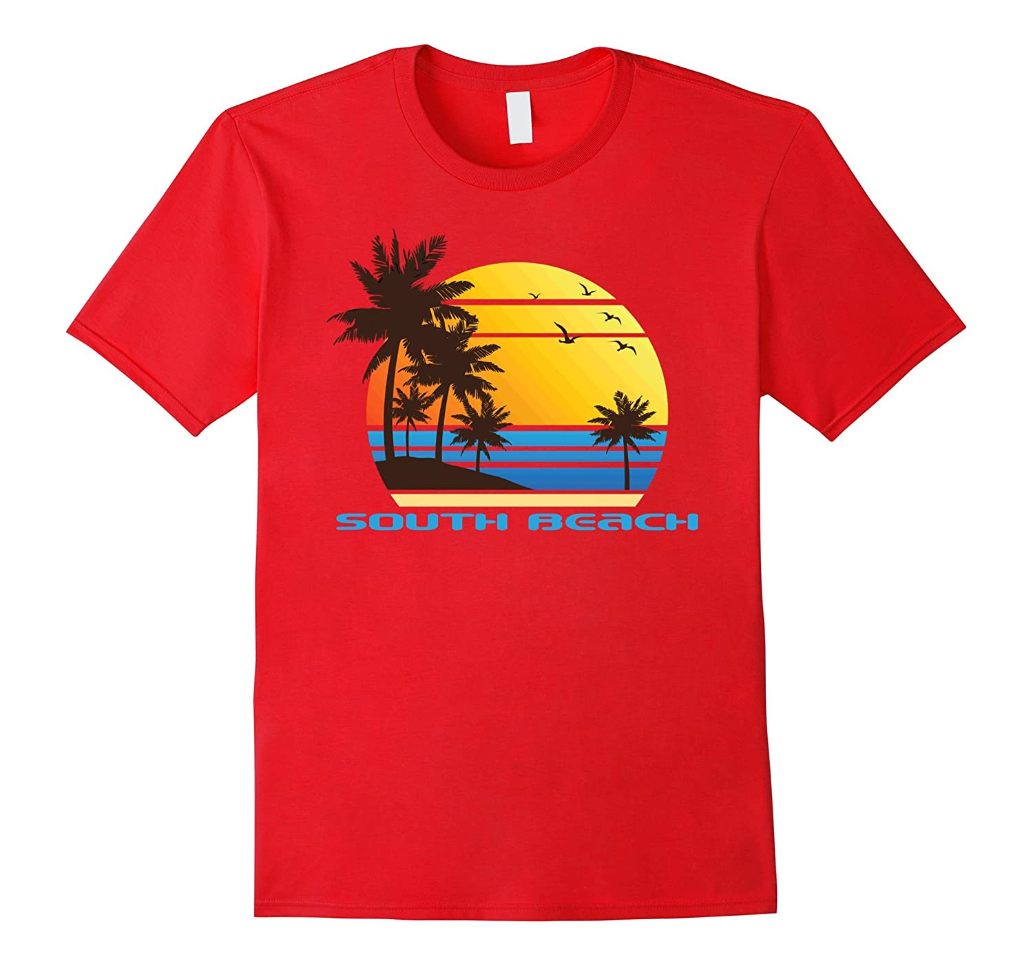 South Beach Surf T-Shirt Summer Sun Fun Ski Tee Shirt-T-Shirt