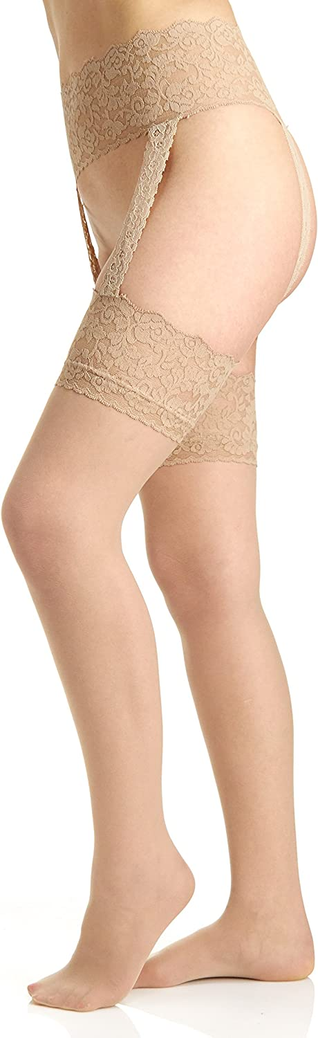 B0000ZFINY Berkshire Women's Sexyhose Lace Garter with Stocking - Sandalfoot 814%2Bq4qREML