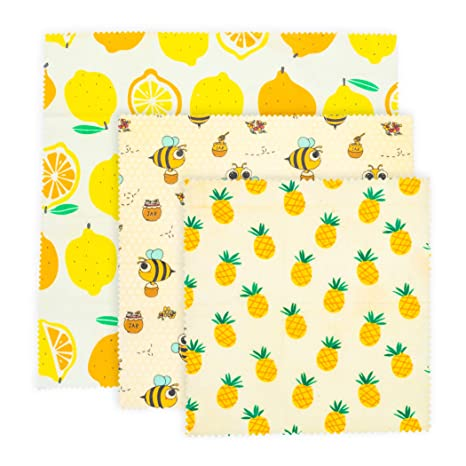 Beeswax Food Wraps - Reusable, Eco Friendly and Compostable- Assorted Set  of 3, 1 Large, 1 Medium, 1 Small - Sustainable Plastic Alternative For Food