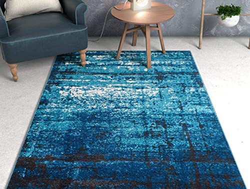 Well Woven Longlac Blue Vintage Stripe Modern Casual 8×11 7'10'' x 10'6″ Area Rug Thick Soft Plush Shed Free
