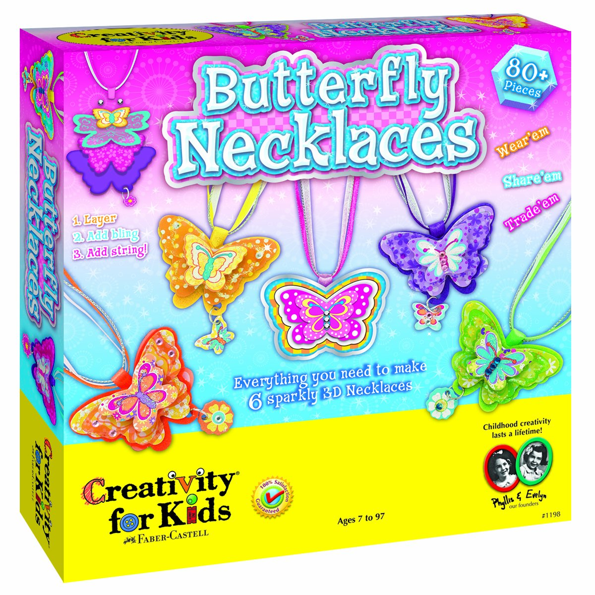 Butterfly Necklaces - Children's Jewelry Making Craft Kit