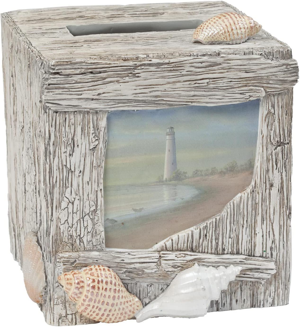 Creative Bath Products Inc. ATB58MULT Products at The Beach Boutique Tissue Cover, Box, Blue/Tan